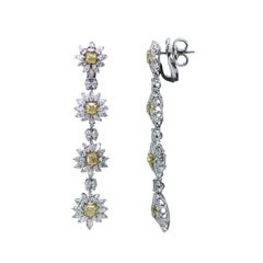 Studio Rêves 18 Karat Gold Yellow Cushion Cut and White Diamonds Floral Earrings