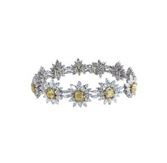 Studio Rêves 18K Gold, Yellow Cushion cut and Diamonds Floral Tennis Bracelet