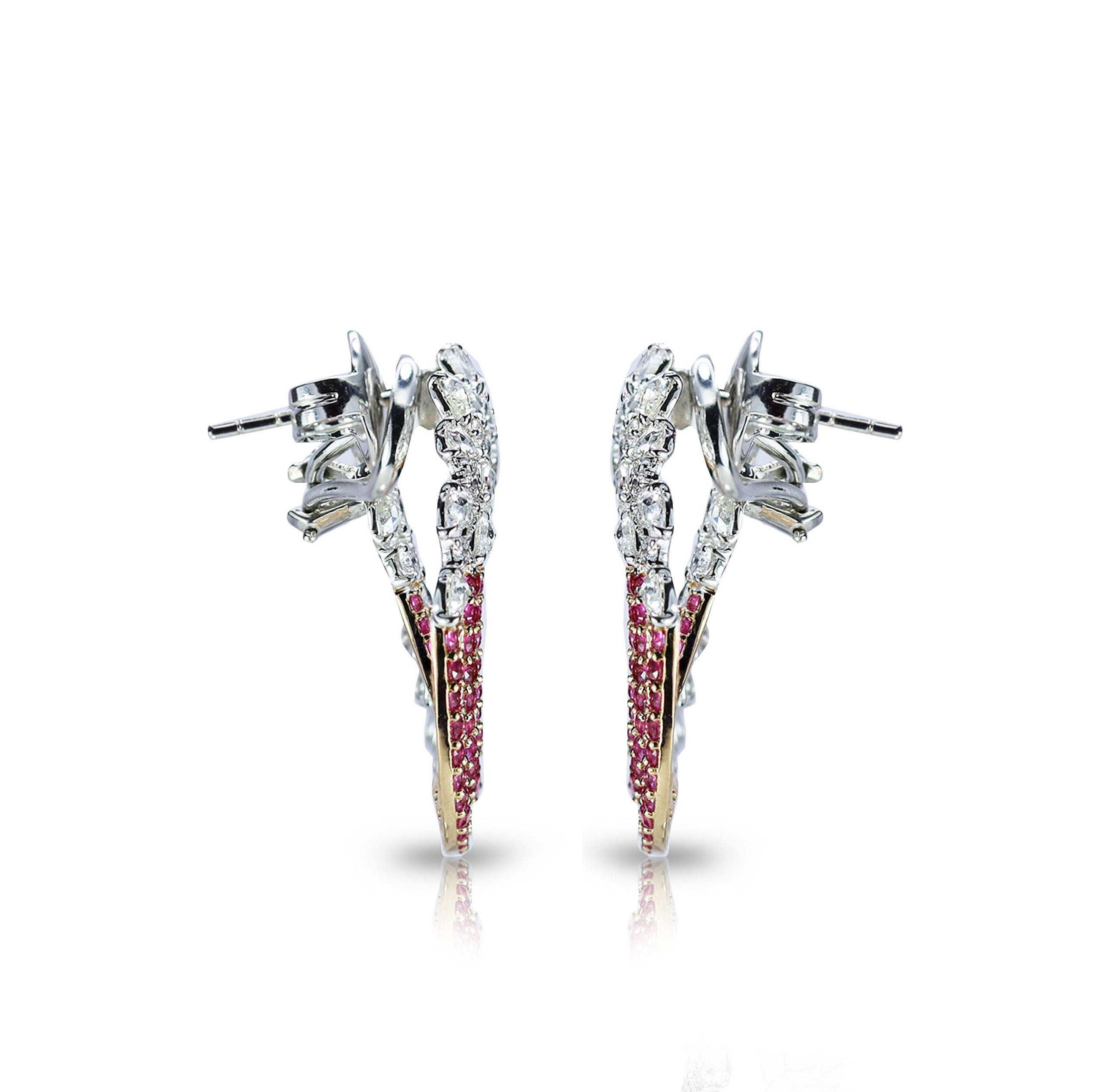 Studio Rªves 18 Karat Gold Diamond and Pink Sapphire Earrings For
