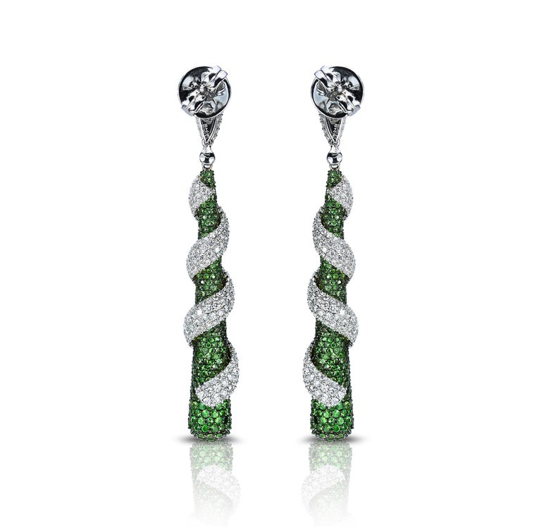 Round Cut Studio Rêves 18 Karat Gold, Diamonds and Tsavorite Dangling Earrings For Sale