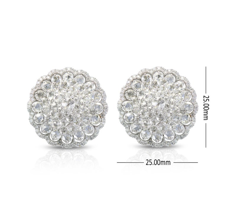 Women's Studio Rêves 18 Karat White Gold and Rose Cut Floral Cluster Stud Earrings For Sale