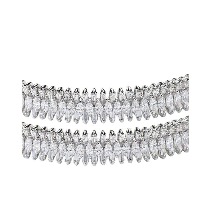 Art Deco Studio Rêves 18 Karat White Gold, Baguette and Marquise Diamonds Bangles For Sale