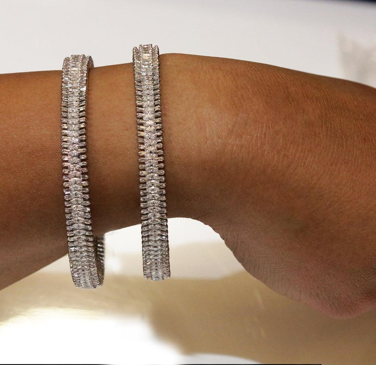 Studio Rêves 18 Karat White Gold, Baguette and Marquise Diamonds Bangles For Sale 2