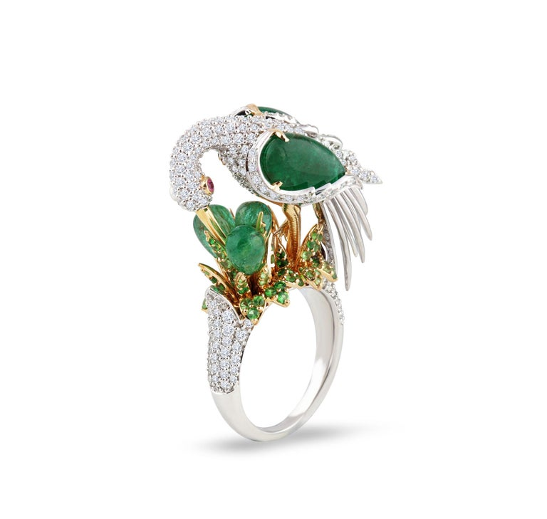 Victorian Studio Rêves Crane Ring in 18K Gold and Diamonds with Emeralds and Tsavorites For Sale