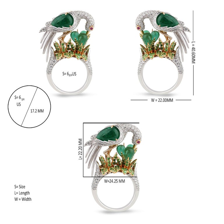 Studio Rêves Crane Ring in 18K Gold and Diamonds with Emeralds and Tsavorites For Sale 1