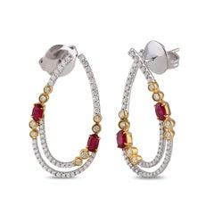 Diamonds and Ruby Hoop Earrings in 18K Gold