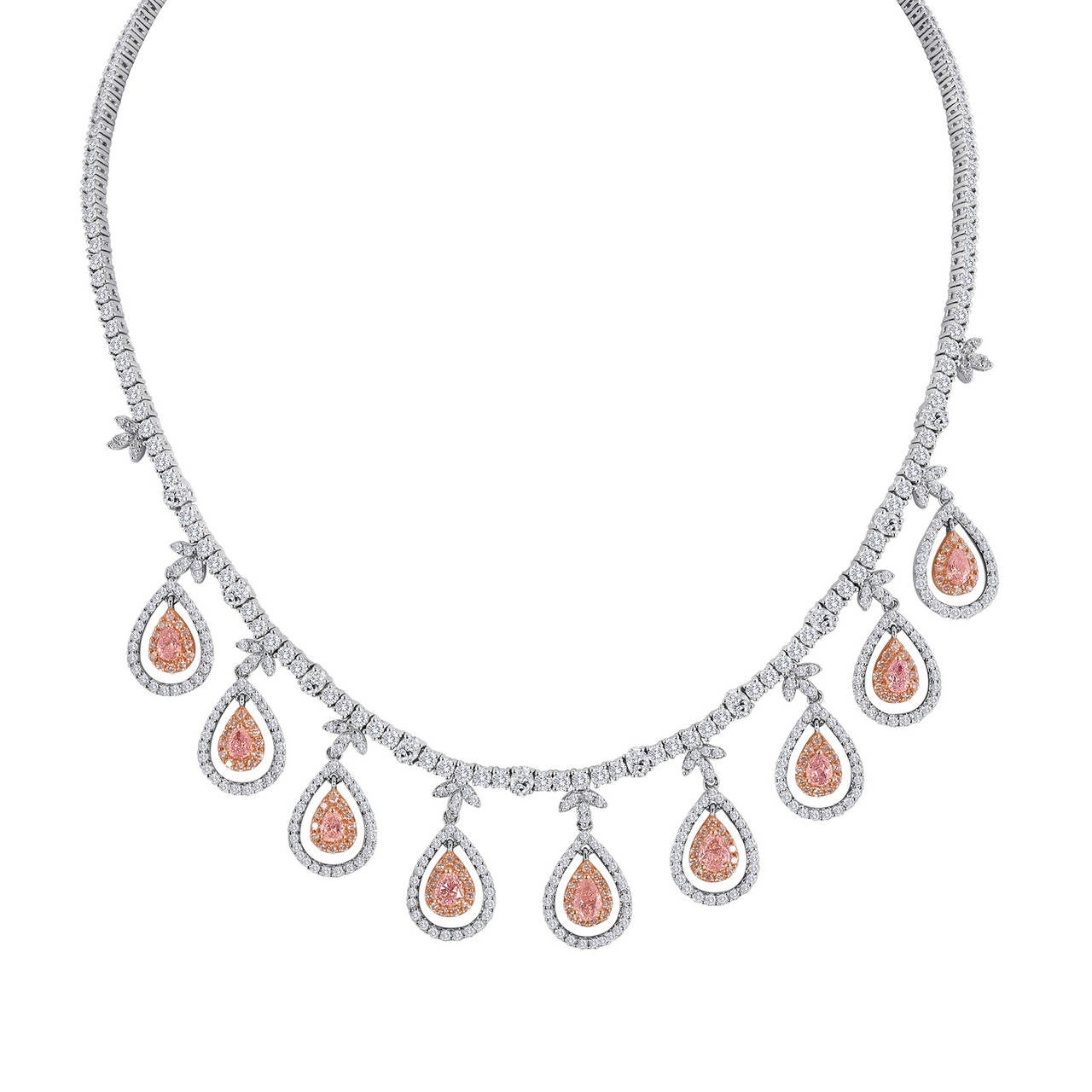Fancy Light Pink Diamond Necklace At 1stdibs