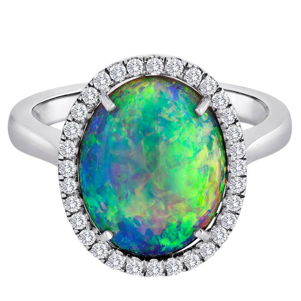 Australian Opal Diamond Ring At 1stdibs