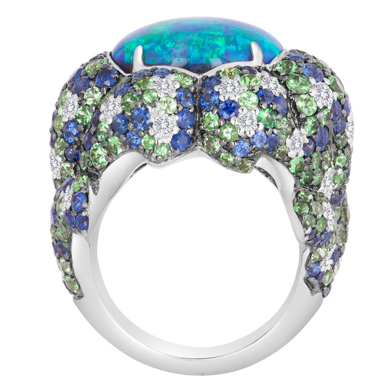 Australian Black Opal Ring At 1stdibs