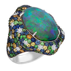 Australian Black Opal Gem-Set Gold Ring