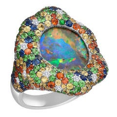 Australian Black Opal Gold Ring