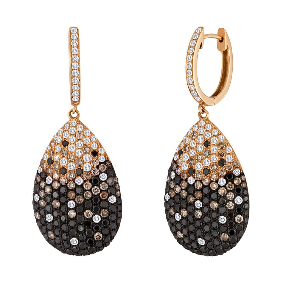 black champagne and white diamond gold drop earrings for. Black Bedroom Furniture Sets. Home Design Ideas