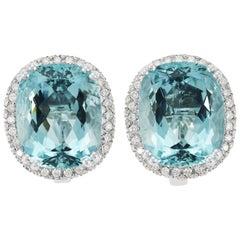 Picchiotti 18 Karat White Gold Aquamarine and Diamond Halo Earrings