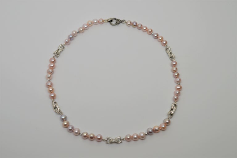 Women's Susan VanGilder Baroque Pearl Necklace White Sapphire & Sterling Bow Adornments For Sale