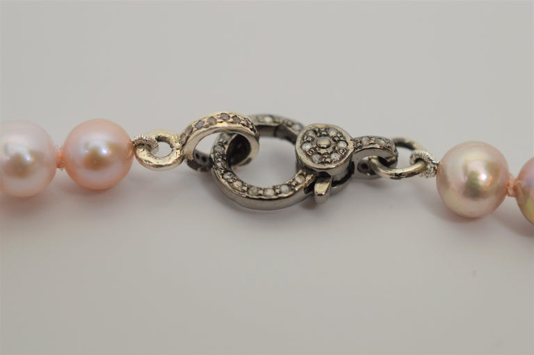Artisan Susan VanGilder Baroque Pearl Necklace White Sapphire & Sterling Bow Adornments For Sale