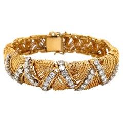 Woven 18 Karat Yellow Gold Rope Diamond Retro 1950's Bracelet