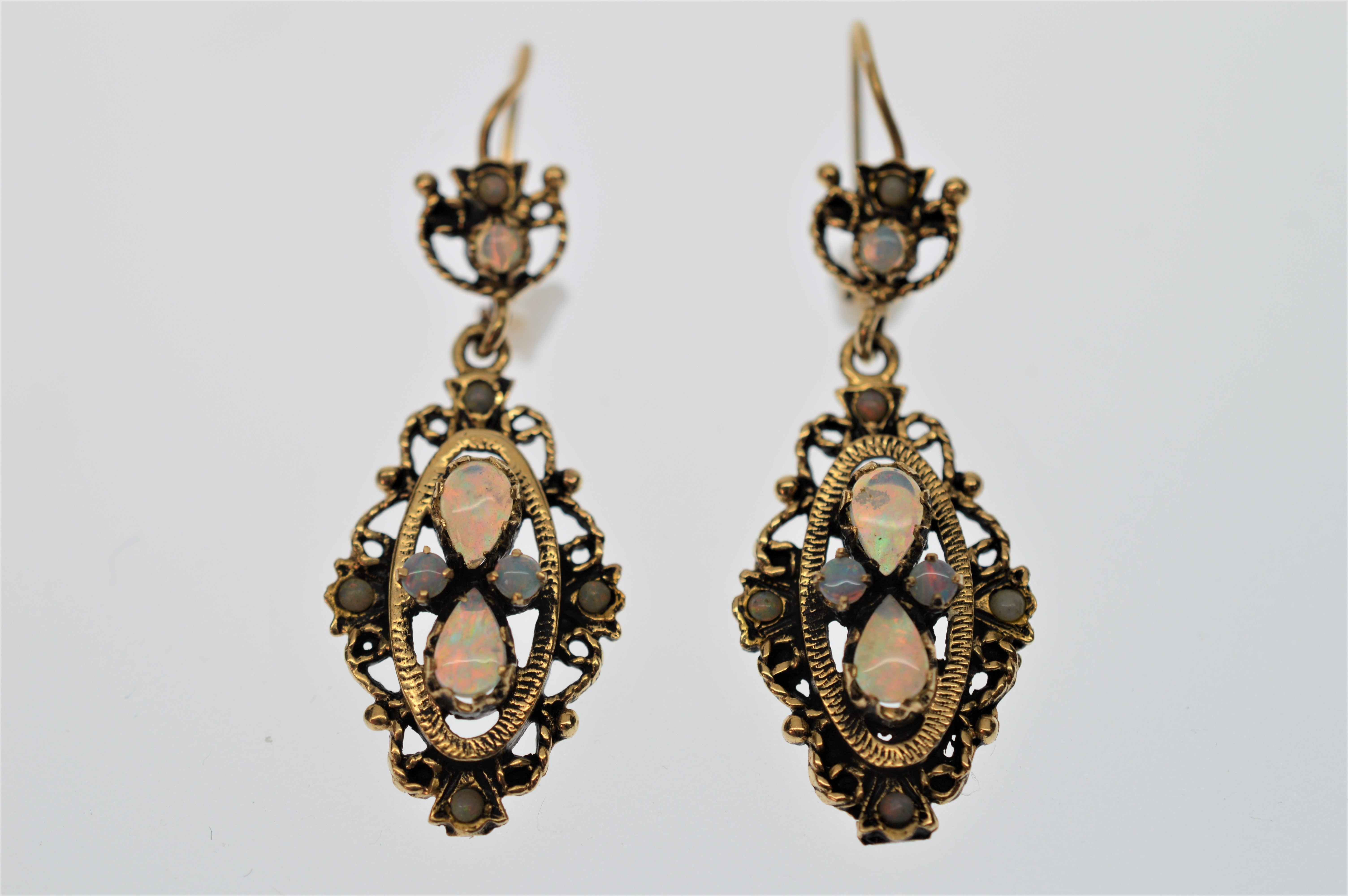 d9e9b86574a 14K Yellow Gold and Genuine Opal Brooch Pin Pendant and Matching Dangle  Earrings at 1stdibs