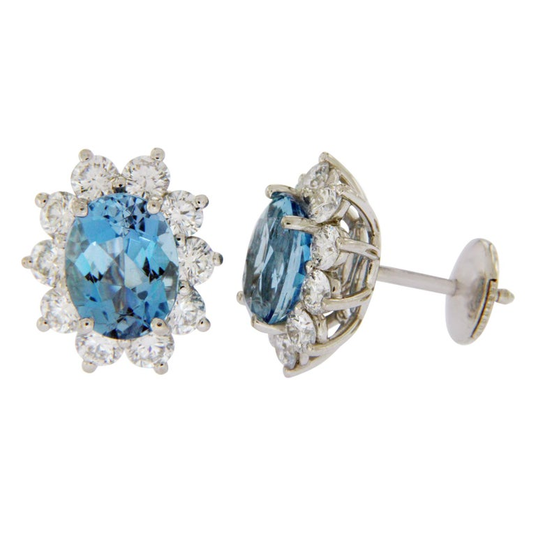Type: Earrings Height: 14 mm Width: 12.5 mm Metal: Platinum Metal Purity: 950 Hallmarks: T and Co 950 Total Weight: 6.8 Grams Stone Type: Aquamarines and Diamonds Condition: Pre Owned Stock Number: BO3