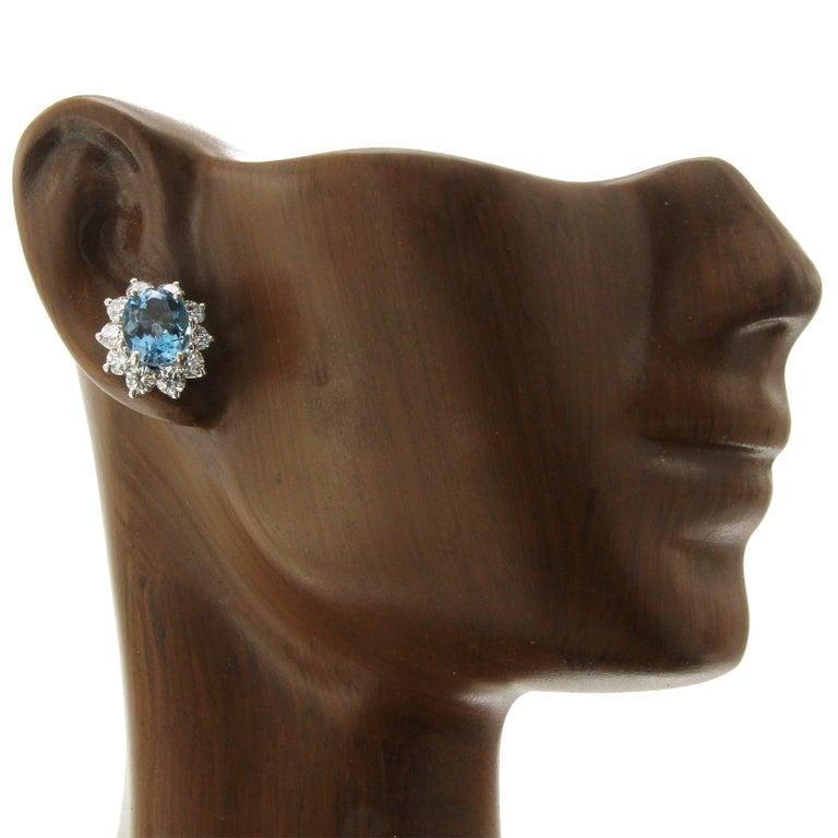 Oval Cut Tiffany & Co. 950 Platinum Aquamarines and Diamonds Stud Earrings For Sale