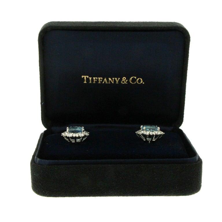 Women's Tiffany & Co. 950 Platinum Aquamarines and Diamonds Stud Earrings For Sale