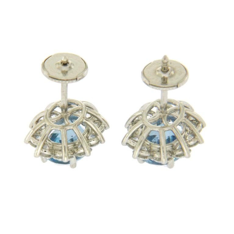 Tiffany & Co. 950 Platinum Aquamarines and Diamonds Stud Earrings For Sale 1