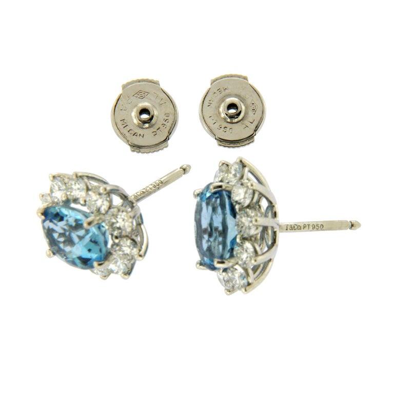 Tiffany & Co. 950 Platinum Aquamarines and Diamonds Stud Earrings For Sale 2