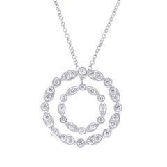 Tiffany & Co. 950 Platinum Diamond Double Circle Necklace