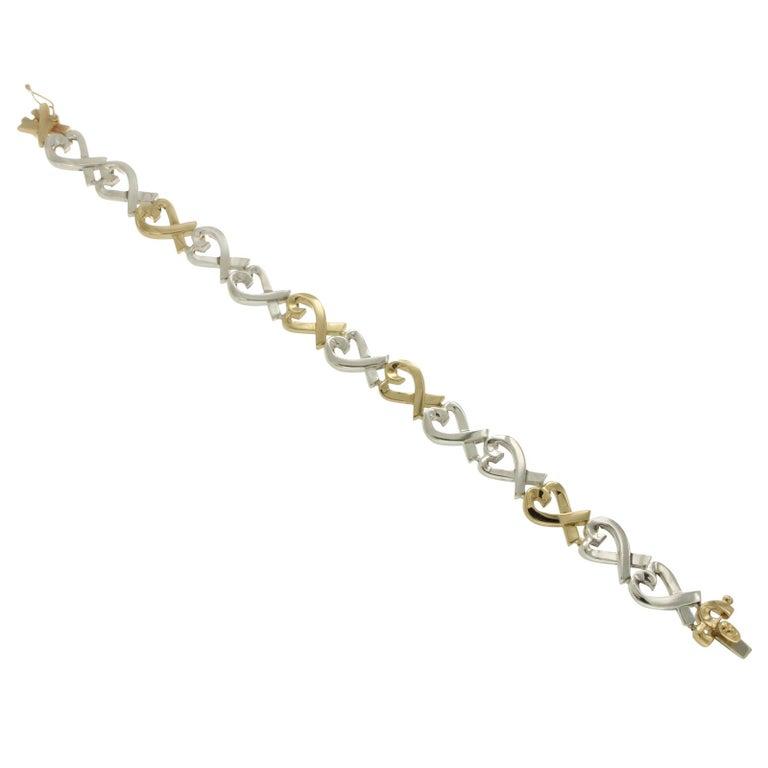 Tiffany & Co. 18 Karat Gold and 925 Silver Paloma Picasso Hearts X Bracelet