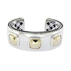 David Yurman Sterling Silver 18 Karat Gold Albion Cushions Cuff Bracelet
