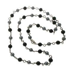 David Yurman Tahitian Pearl and Black Onyx Bijoux Necklace