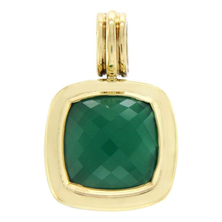 David Yurman 925 Silver and 18 Karat Gold Green Onyx Albion Pendant Charm