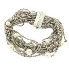 David Yurman Sterling Silver Multi Row Petite Chain Pearl Bracelet