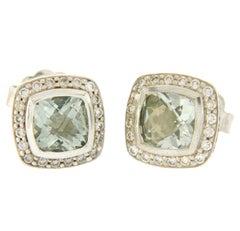 David Yurman 925 Silver 18 Karat Gold Diamond Prasiolite Petite Albion Earrings