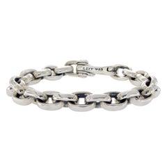 David Yurman 925 Silver Oval Chain Men's Bracelet