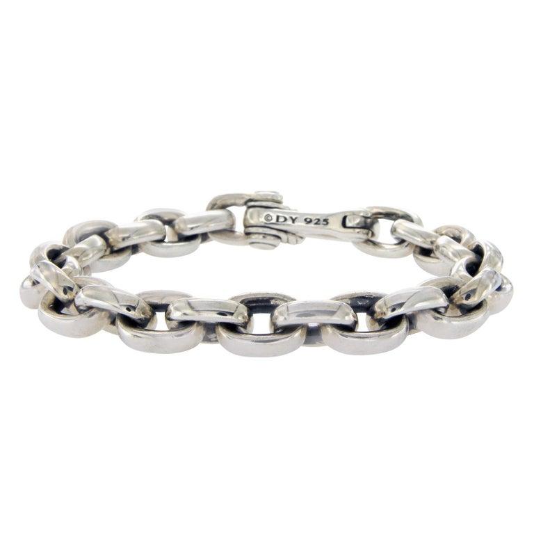 David Yurman 925 Silver Oval Chain Men S Bracelet For