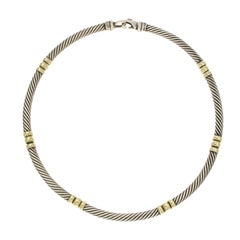 David Yurman 925 Sterling Silver 14 Karat Gold Chocker Necklace
