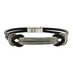 David Yurman Silver 925 Maritime Rubber Id Bracelet