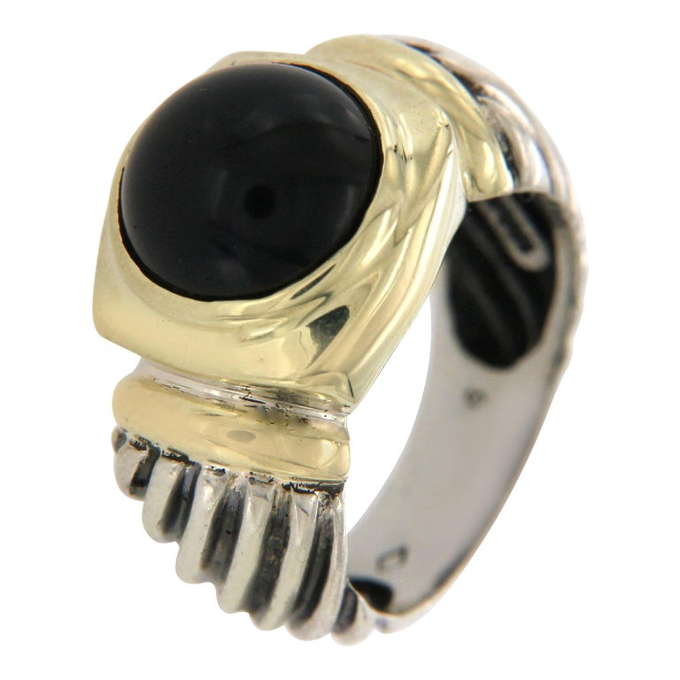 David Yurman Silver and 14 Karat Yellow Gold Onyx Ring