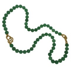 Judith Ripka 925 Silver 18 Karat Plated Chalcedony Bead Bracelet Necklace