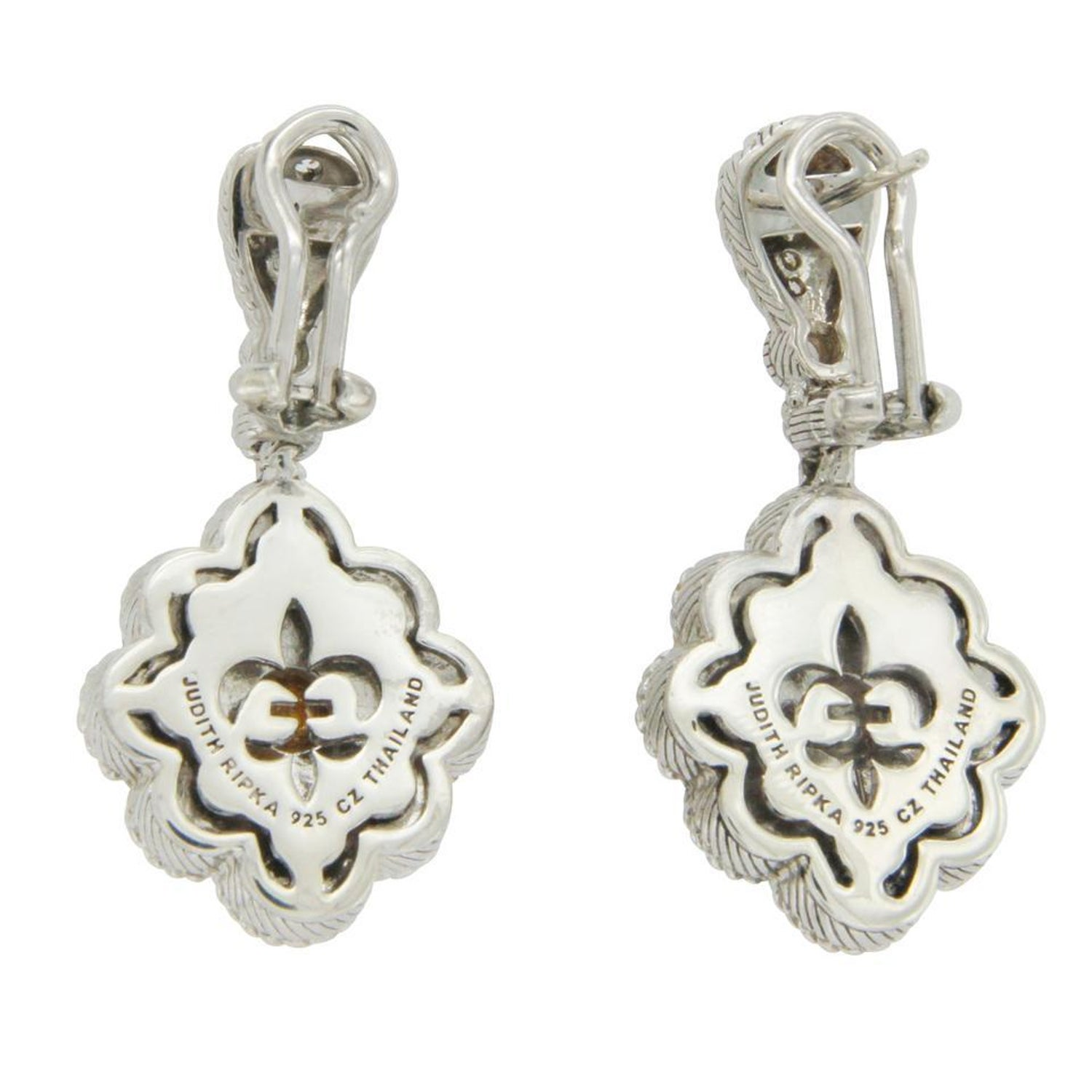 Judith Ripka 925 Sterling Silver Mother Of Pearl Diamonique Earrings For At 1stdibs