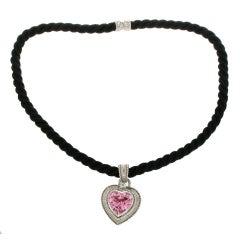 Judith Ripka 925 Sterling Silver Pink Quartz Cz Black Cord Necklace