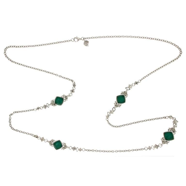 Stephen Webster 925 Silver Chrysoprase Quartz Crystal Necklace