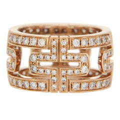 Bulgari 18 Karat Rose Gold Diamond Parentesi Pavé Eternity Ring
