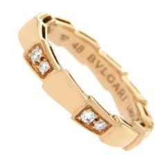 Bulgari 18 Karat Rose Gold Diamond Serpenti Eternity Band Ring