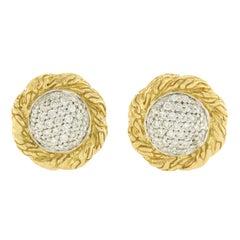 John Hardy Classic Chain 18 Karat Yellow Gold Diamond Stud Earrings