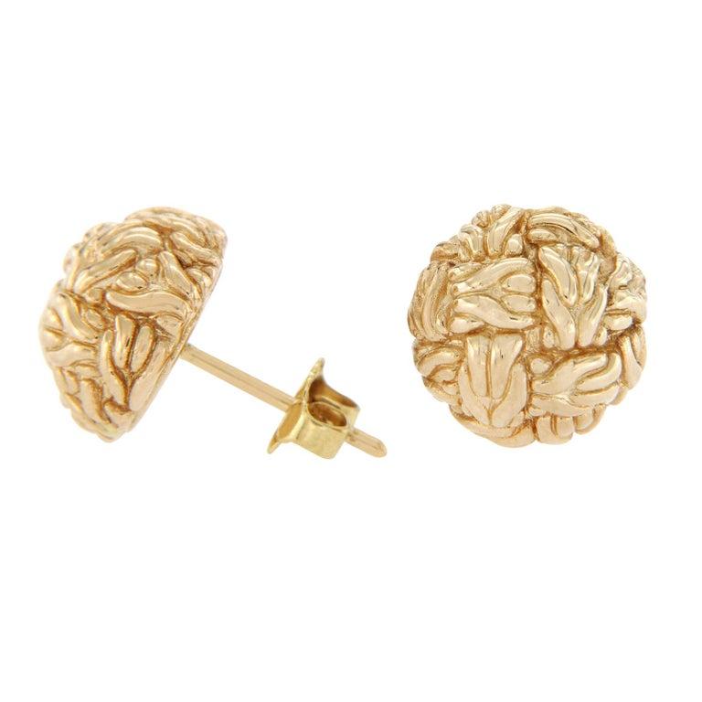 John Hardy Gold Classic Chain Knot 18 Karat Yellow Stud Earrings