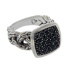 John Hardy Black 925 Sterling Silver Sapphire Classic Chain Ring