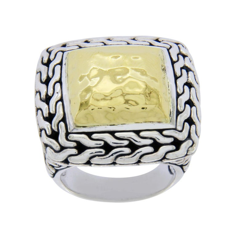 John Hardy Sterling Silver and 22 Karat Gold Classic Chain Men's Ring