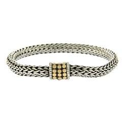 John Hardy 925 Sterling Silver 18 Karat Gold Wheat Chain Dots Bracelet