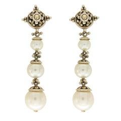 John Hardy 925 Sterling Silver 18 Karat Yellow Gold Pearl Earrings